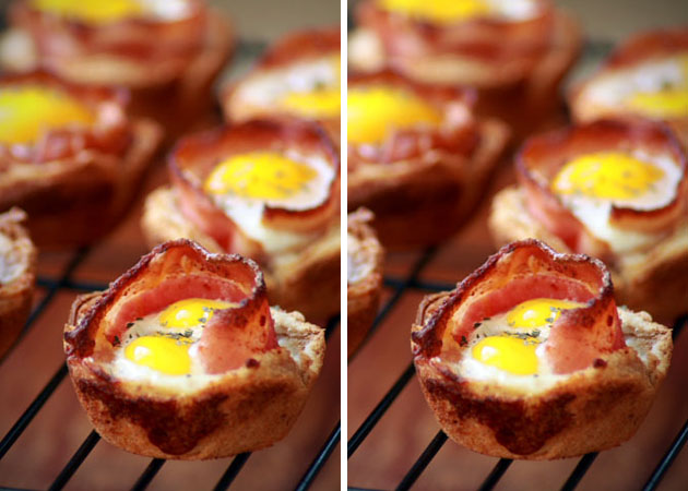 Bacon And Eggs In Toast Cups Breakfast Combo